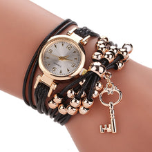 Load image into Gallery viewer, Gold Case Leather Beading Strap Women Bracelet Quartz Watch