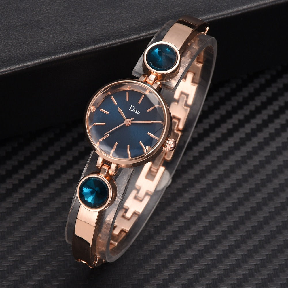 Elegant Big Crystal Women Simple Dial Quartz Watch Bracelet