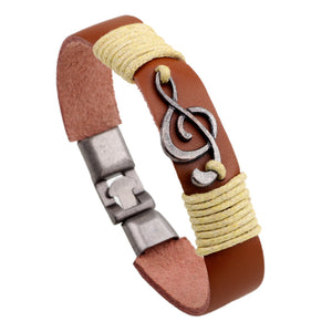 Unisex Vintage Musical Note Leather Bracelets