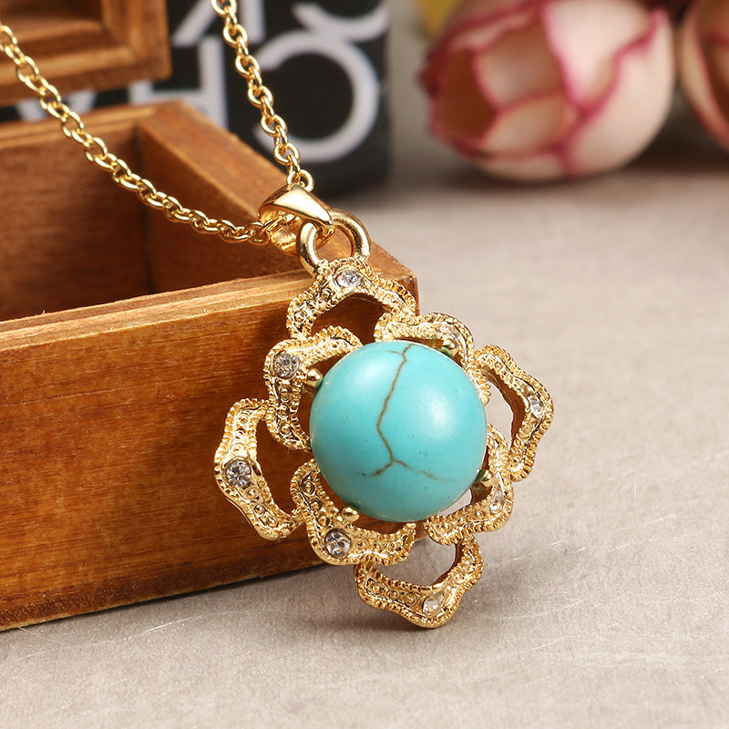 JASSY® Elegant 18K Gold Plated Turquoise Jewelry Set Vintage Necklace Ring Earrings for Women