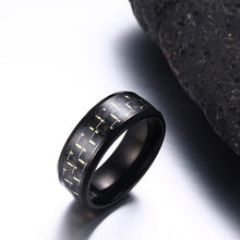 Load image into Gallery viewer, 8mm Stainless Steel Carbon Fiber Polished Men Ring Simple Trendy
