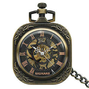 JIJIA JX023 Self-wind Mechanical Square Dial Pocket Watch