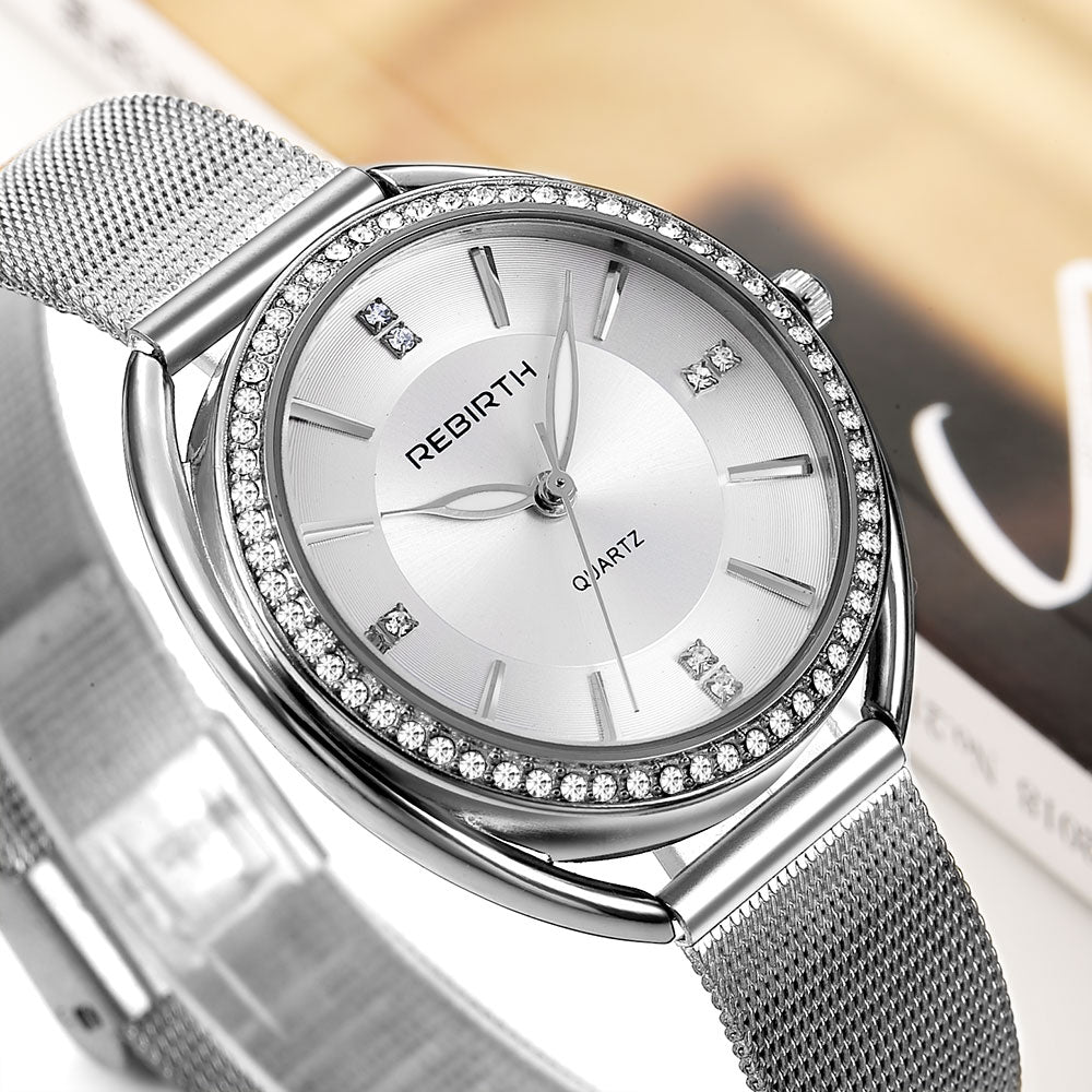 REBIRTH RE115 Diamond Dial Case Elegant Women Watch