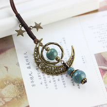 Load image into Gallery viewer, Vintage Star Moon Necklace Ethnic Ceramic Adjustable Pendant
