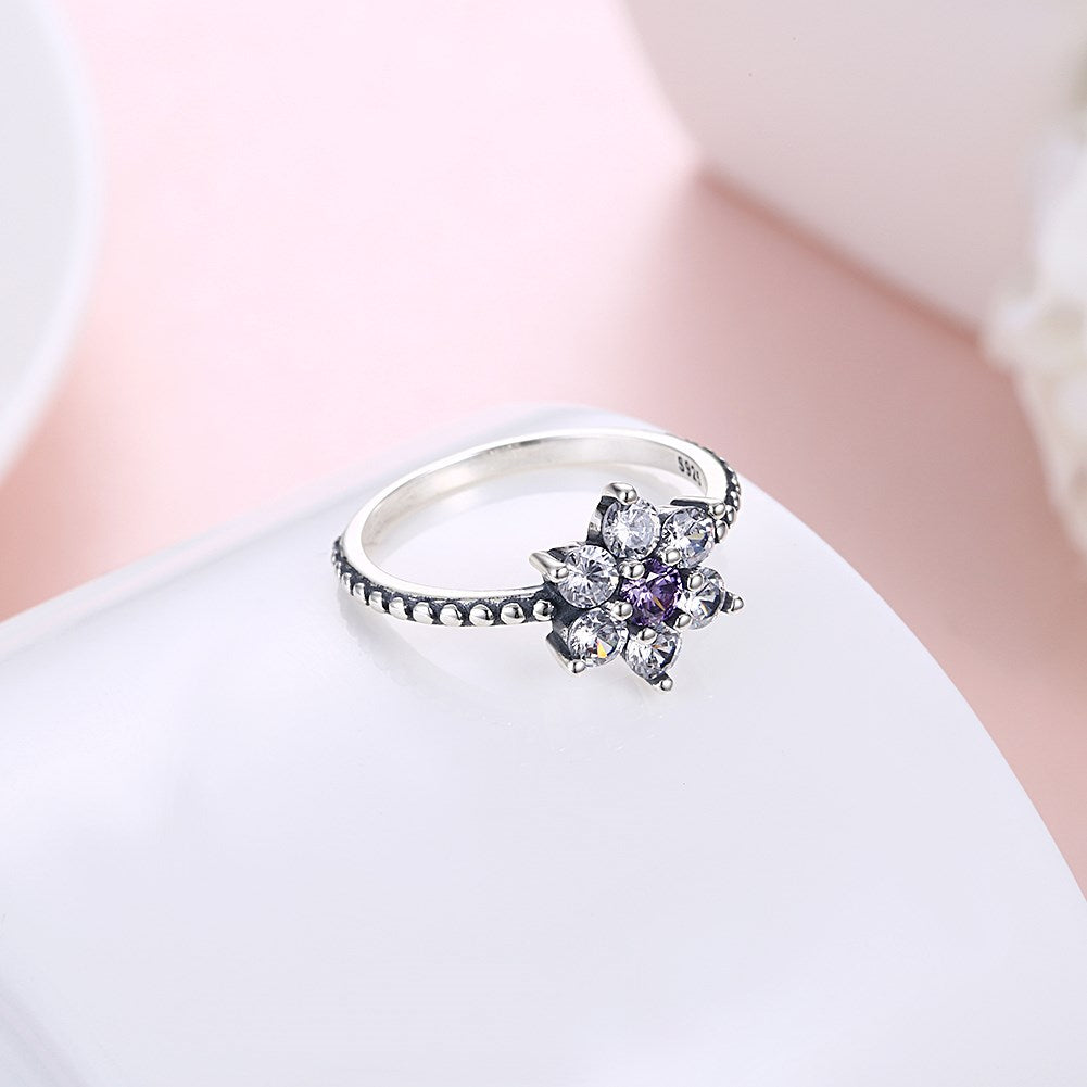 Luxury 925 Sterling Silver Rings Flower Zirconia Engagement
