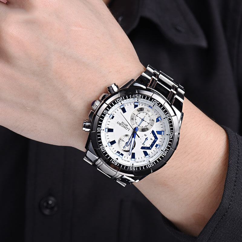LONGBO 80135 Stainless Steel Band Luminous Men Quartz Watch