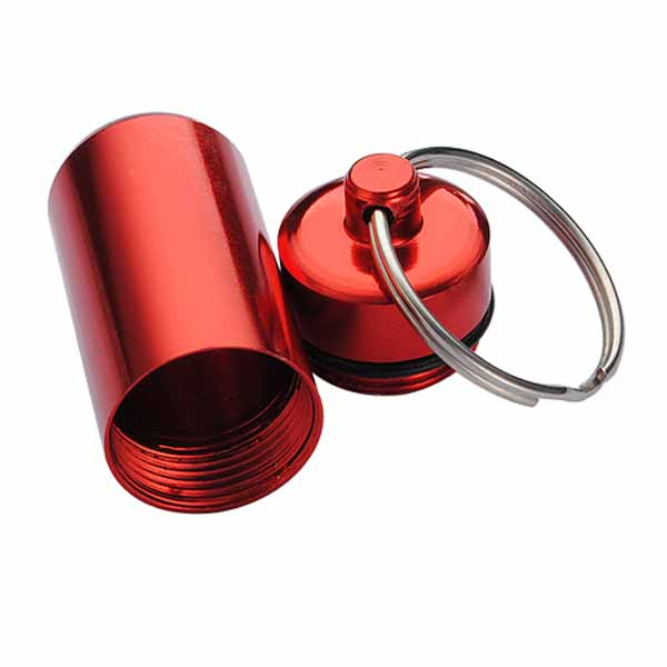 Aluminum Pill Box Case Bottle Holder Container Keychain
