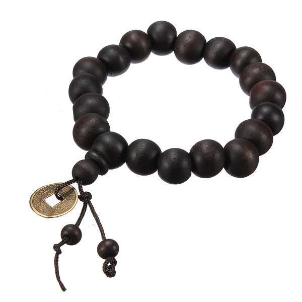 Lucky Black Wood Beads Coin Buddhist Prayer Bracelet Unisex