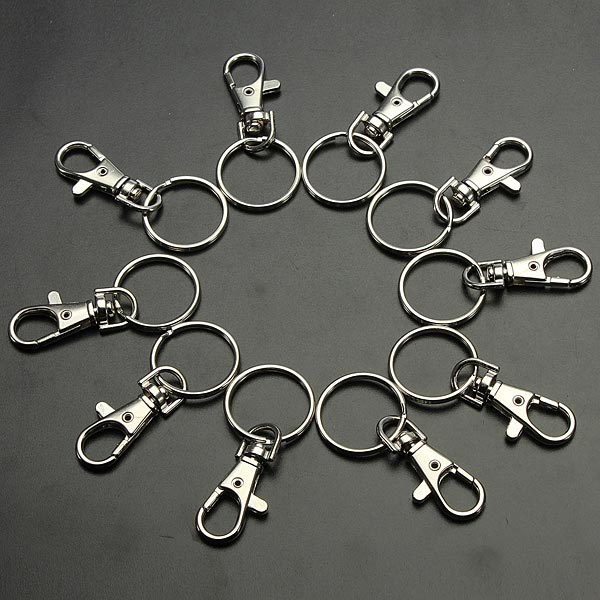 10PCS Silver Plated Lobster Clasp Keychain Snap Hook DIY Jewelry