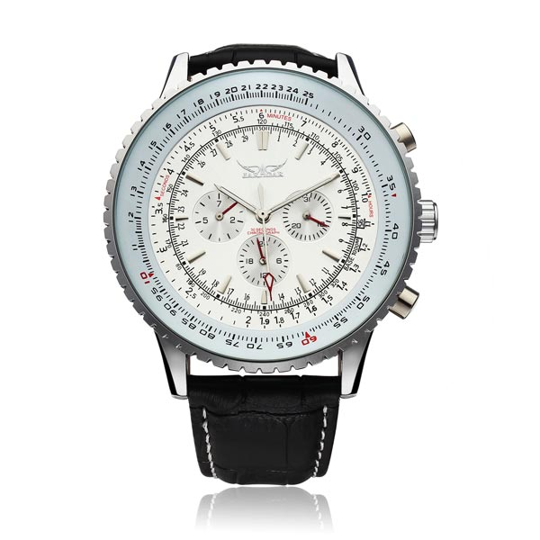 JARAGAR Automatic Mechanical Big Dial Multi Number Precise Watch (White)