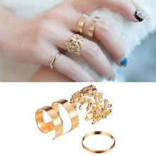 Load image into Gallery viewer, 3pcs Hollow Out Leaves Band Midi Knuckle Finger Rings Set Gold Plated