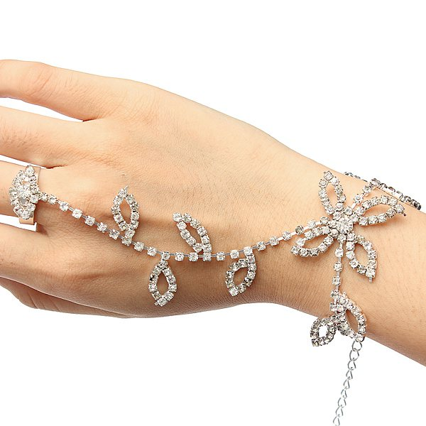 Silver Plated Leaves Rhinestone Ring Bracelet Crystal Metal Chain
