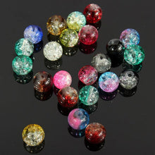 Load image into Gallery viewer, 80Pcs 8mm Crystal Crack Glass Loose Spacer Beads Mixed Color