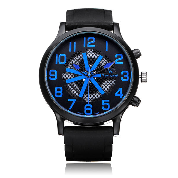 V6 V0198 Super Speed Big Dial Net Number Black Men Wrist Watch