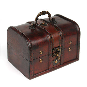 Vintage Wooden Jewelry Box Antique Storage Organizer Case