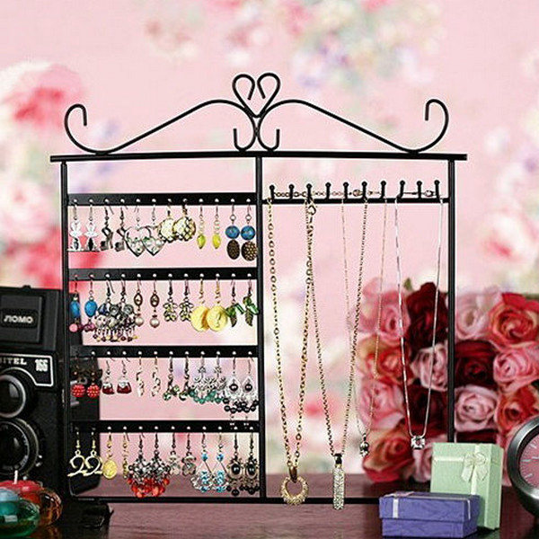 10 Hooks 48 Holes Earrings Necklace Jewelry Display Rack Holder Stand