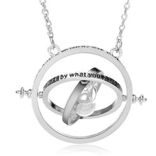 Load image into Gallery viewer, Time Turner Rotating Hourglass Pendant Necklace Gold Silver Plated