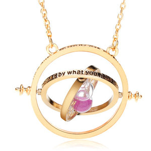 Time Turner Rotating Hourglass Pendant Necklace Gold Silver Plated
