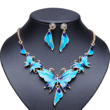Load image into Gallery viewer, Gold Plated Oil Drop Butterfly Crystal Necklace Earrings Jewelry Set