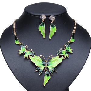 Gold Plated Oil Drop Butterfly Crystal Necklace Earrings Jewelry Set