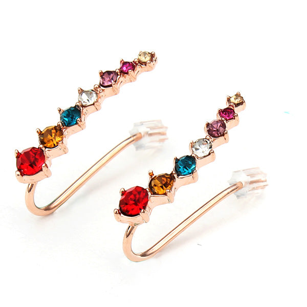 Italina Rhinestone Crystal Ear Cuff Earrings 18K Rose Gold Plated