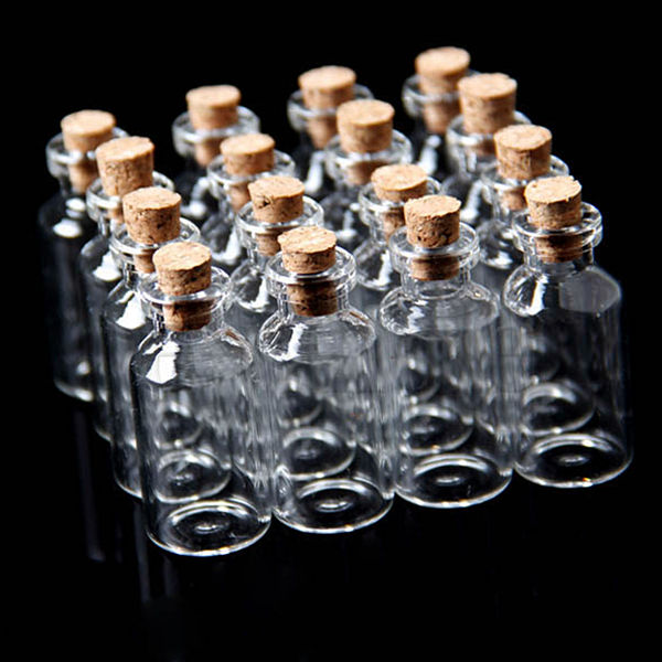 10Pcs 18x40mm Mini Clear Wishing Message Glass Bottles Vials With Cork