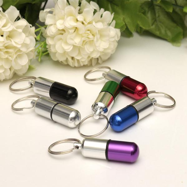 Waterproof Aluminum Pill Box Case Holder Keychain Bottle Container