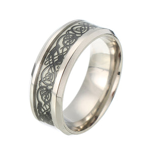 Fashion Luminous Stainless Steel Finger Ring Dragon Pattern Punk Gift for Men