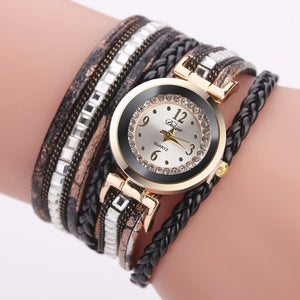 DUOYA Women Leather Bracelet Quartz Watch