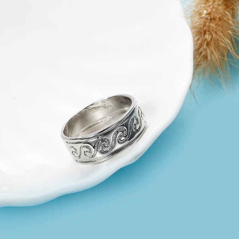 Vinatge Finger Ring Antique Silver Simple Engraved Pattern