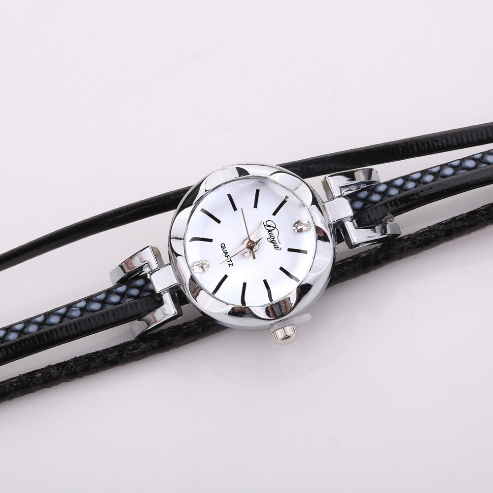 DUOYA D257 Shining Crystal Flower Dial Women Bracelet Watch