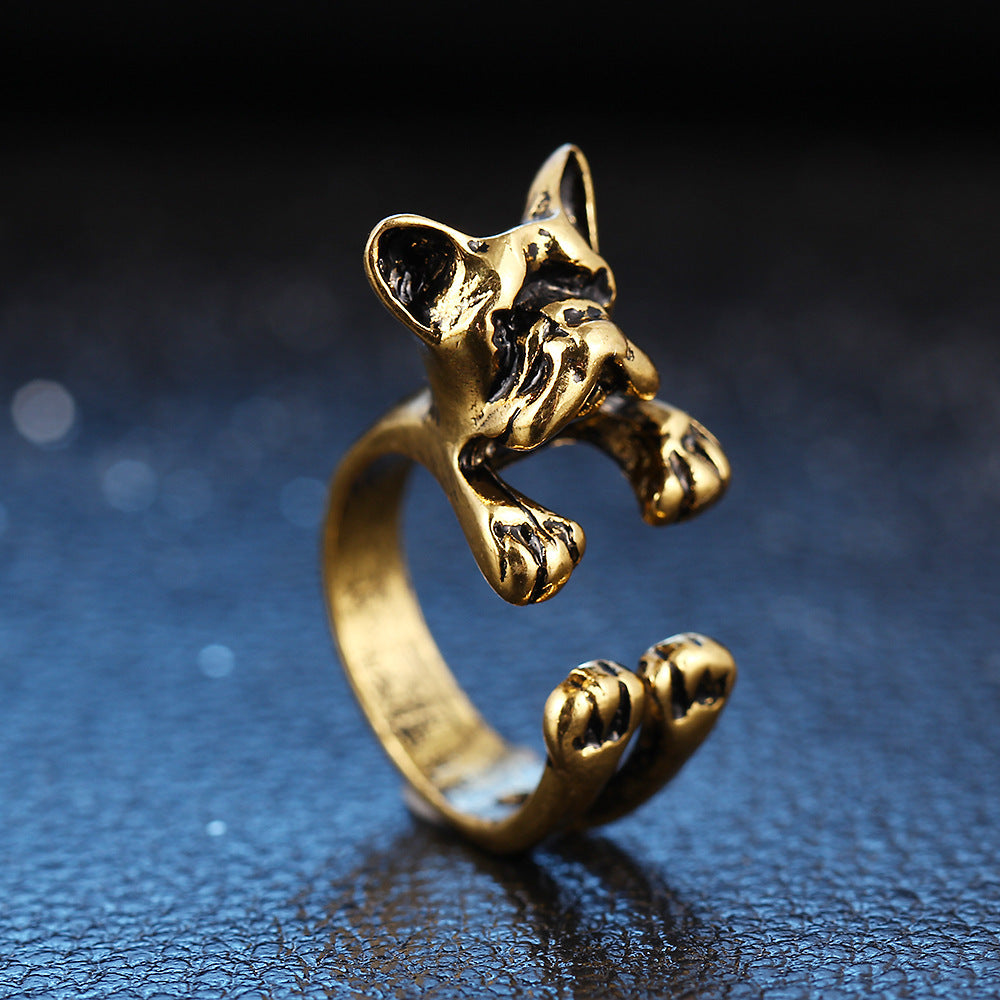 Cute Unisex Finger Rings Open Adjustable Dog Head Rings