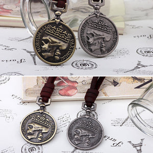 Rope Round Lettering Pendant Necklace