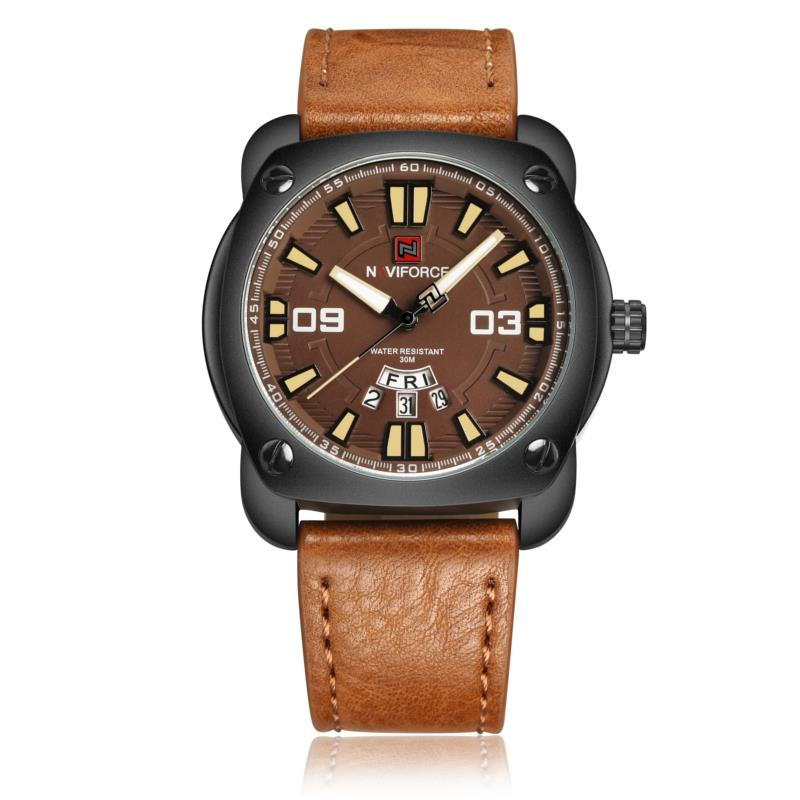 NAVIFORCE 9096 Fashion Men Quartz Watch Date Week Display Leather Strap Watch