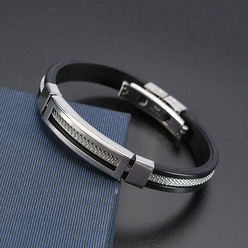 12mm Men Casual Stainless Steel Bracelet Silicone Chain Trendy Bracelets