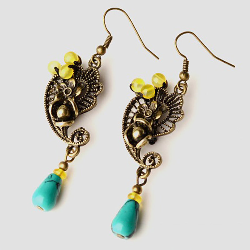 Ethnic Palace Flower Vintage Alloy Ear Drop Earring