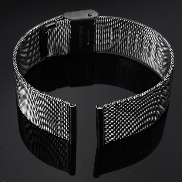 18/20/22/24mm Black Stainless Steel Mesh Net Watch Band