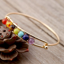Load image into Gallery viewer, Yoga Balance 7 Chakra Colorful Beads Ball Crystal Bangle Gol