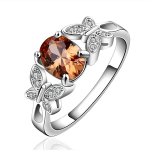 YUEYIN 925 Sterling Silver Plated Butterfly Crystal Zircon Ring For Women