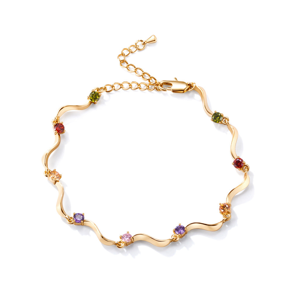Fashion Anklets Gold Plated Colorful Zircon Wave S Anklet