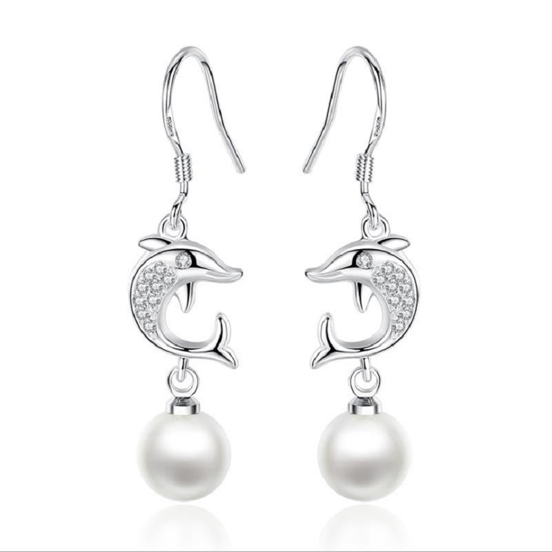 Fashion Ear Drop S925 Silver Dolphin Earring Simple Tasse