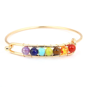 Yoga Balance 7 Chakra Colorful Beads Ball Crystal Bangle Gol