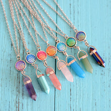 Load image into Gallery viewer, Women's Long Chain Turquoise Natural Stone Colorful Scale Pandent Silver Necklace