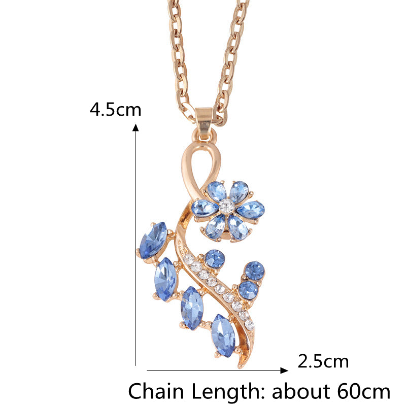Elegant Crystal Flower Tree Pendant Necklace Gold Silver