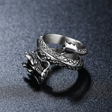 Load image into Gallery viewer, REZEX Vintage Chinese Dragon Men's Stainless Steel Ring