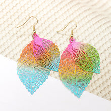 Load image into Gallery viewer, Ethnic Statement Colorful Double Layer Leaf Drop Earring