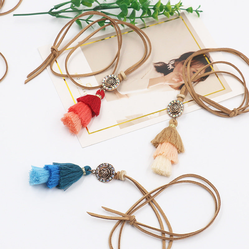 Gradient Colorful Tassels Pendant Ethnic Fashion Necklace for Women