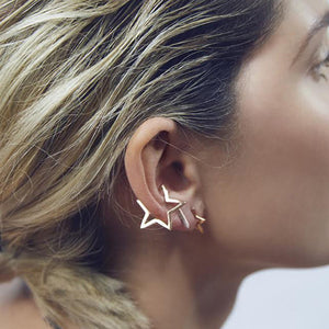 Punk Hollow Star Ear Clip for Women's Earring
