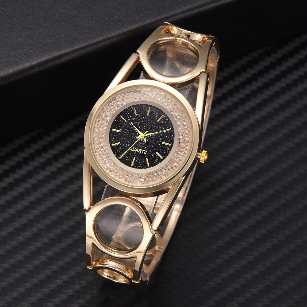 Hollow Circle Strap Flowing Crystal Women Quartz Watch