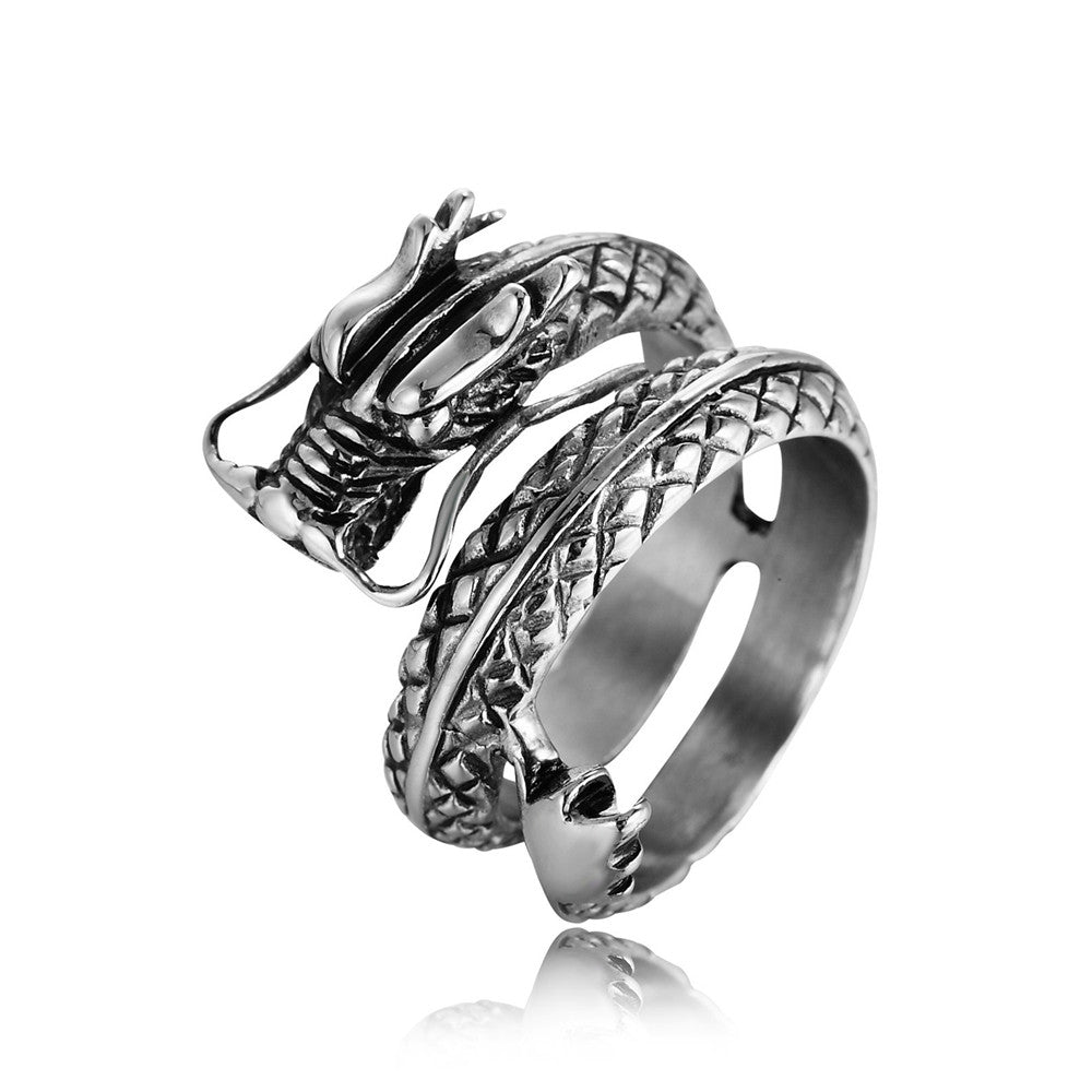 REZEX Vintage Chinese Dragon Men's Stainless Steel Ring